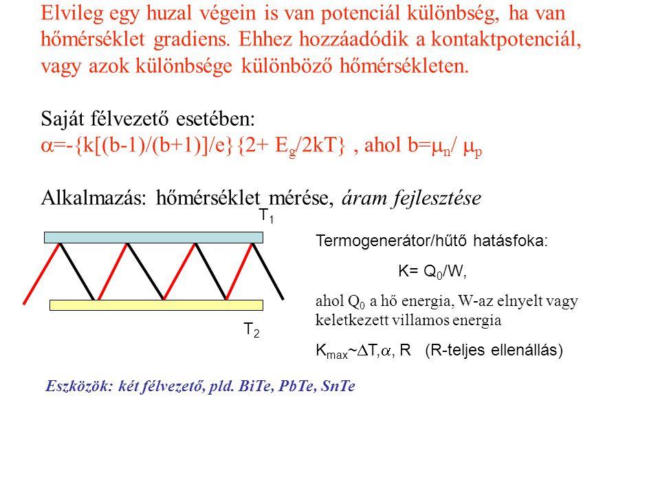 Elvileg egy huzal végein is van potenciál különbség, ha van hőmérséklet gradiens. Ehhez hozzáadódik a kontaktpotenciál, vagy azok különbsége különböző hőmérsékleten. Saját félvezető esetében: =-{k[(b-1)/(b+1)]/e}{2+ Eg/2kT} , ahol b=n/ p Alkalmazás: hőmérséklet mérése, áram fejlesztése